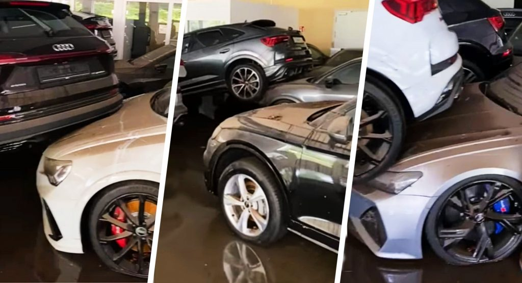 سيارات اودي - فيديو : غرق عشرات من موديلات أودي الجديدة بسبب الفيضانات بألمانيا